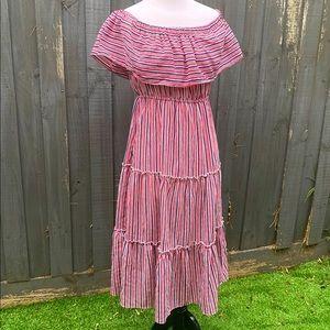 Zaful red stripes off shoulder midi dress M
